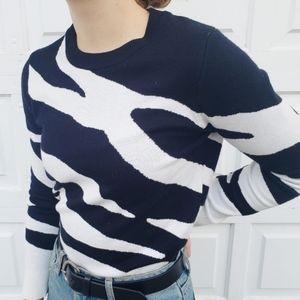Sweaters - Zebra print crew neck sweater